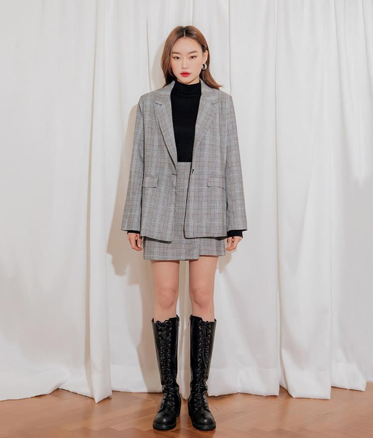 Overfit Single Button Check Jacket Check Slim Slit Skirt