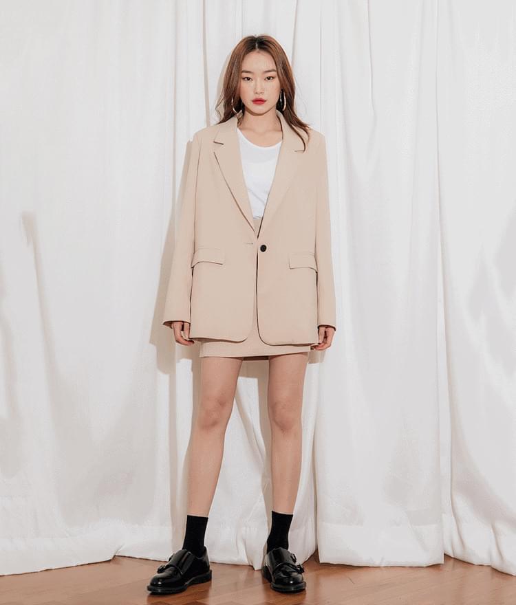 Overfit Single Button Jacket Slim Slit Skirt