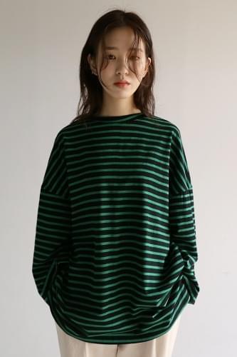 stripe pattern oversized t-shirt (3colors)