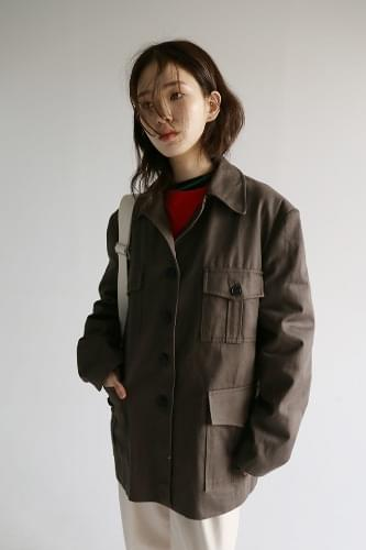 patch pocket boxy cotton jacket (2colors)
