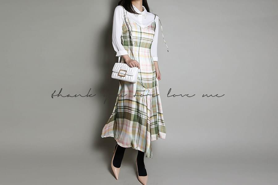 Check bustier long dress _OP02967