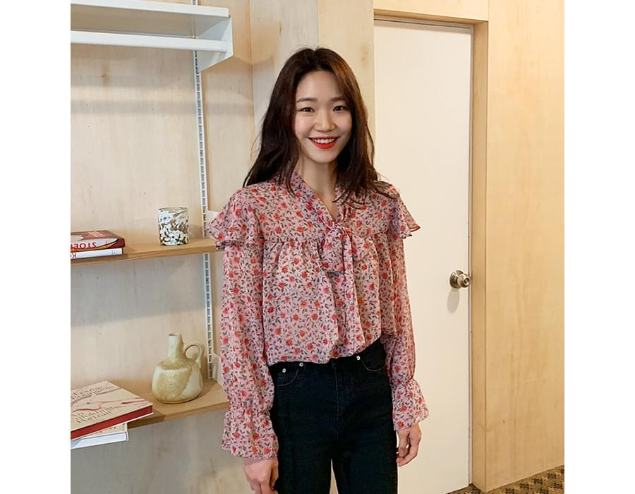 April flower pattern blouse_M