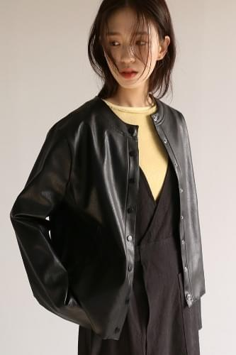 non-collar snap leather jacket
