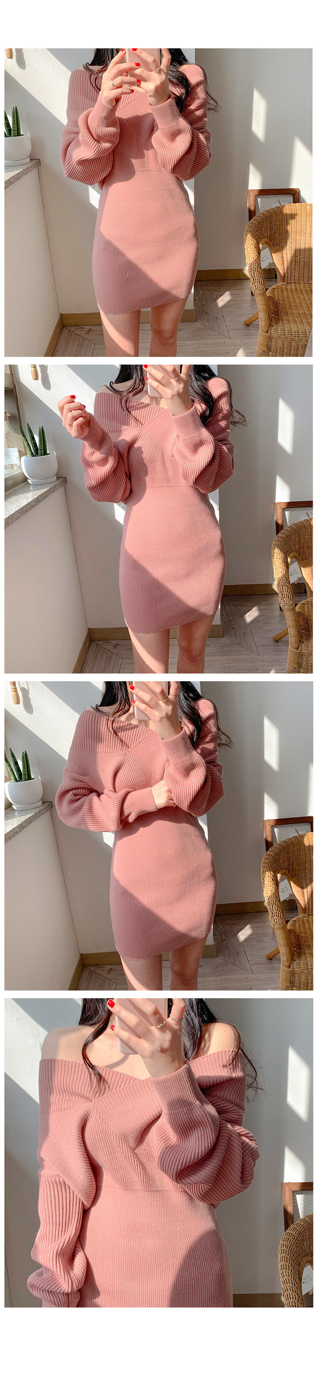 Luna V neck off shoulder knit dress 2color