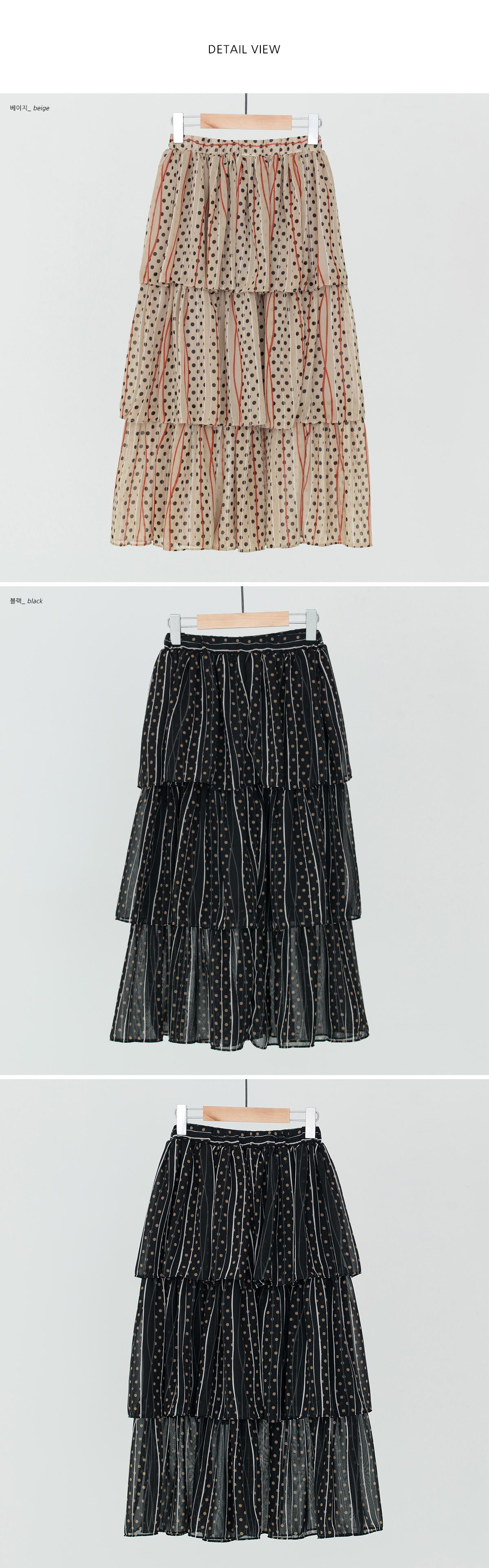 dot pattern tiered skirt