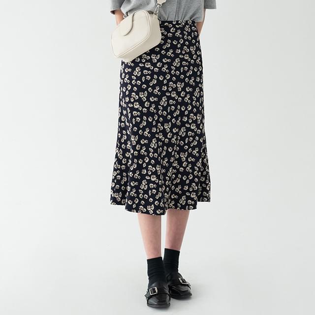 romantic flower midi skirt