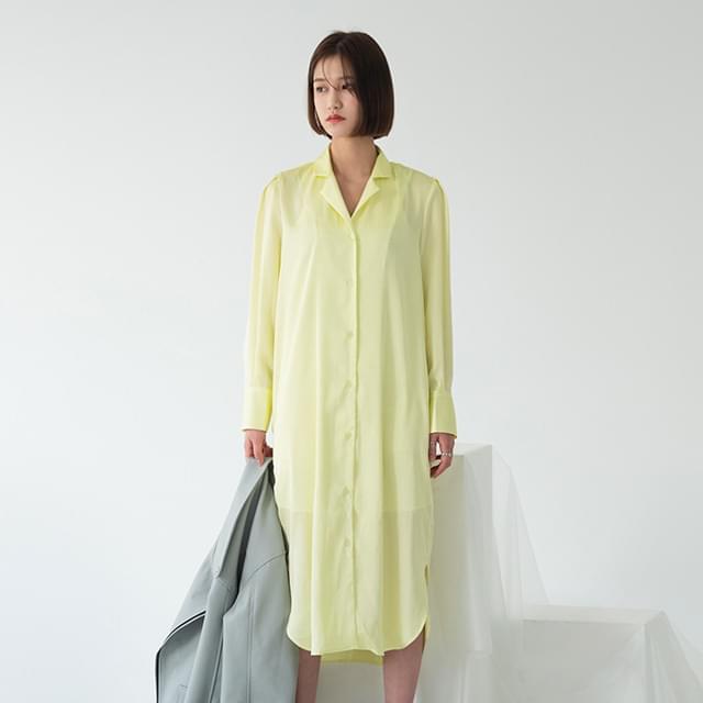 Open collar neck shirt long dress