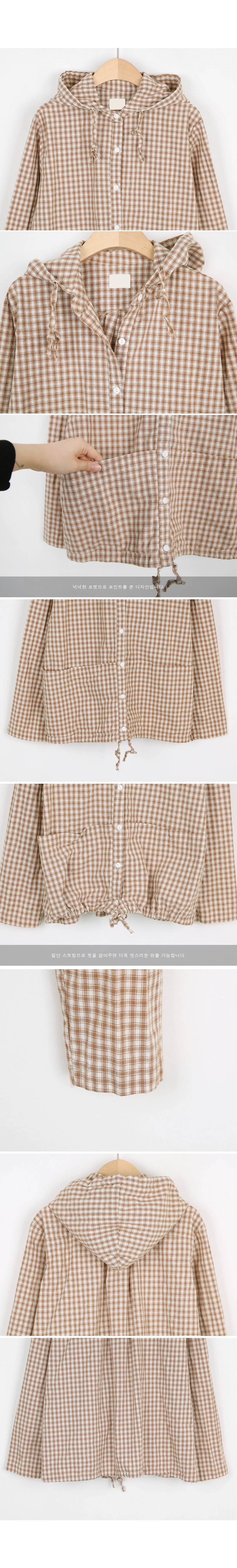 Gingham check hooded blouse