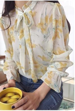 Yellow Flower Chiffon Blouse