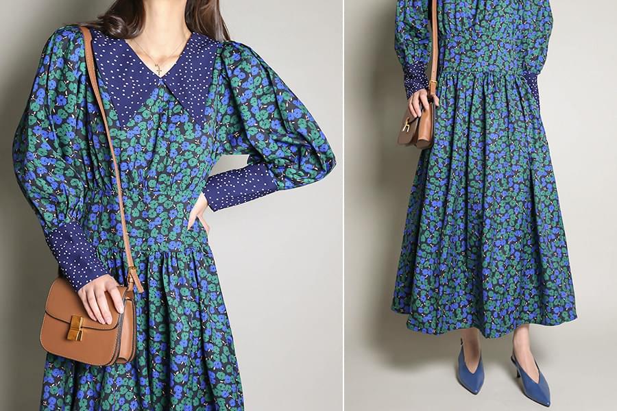 Dot collar flower long dress _op02969