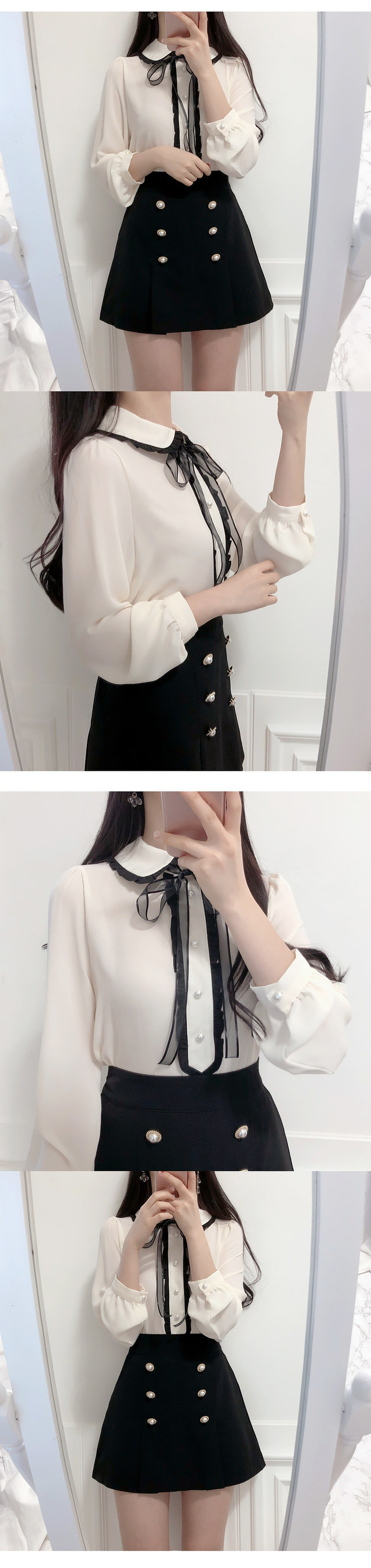 Pearl ruffle blouse