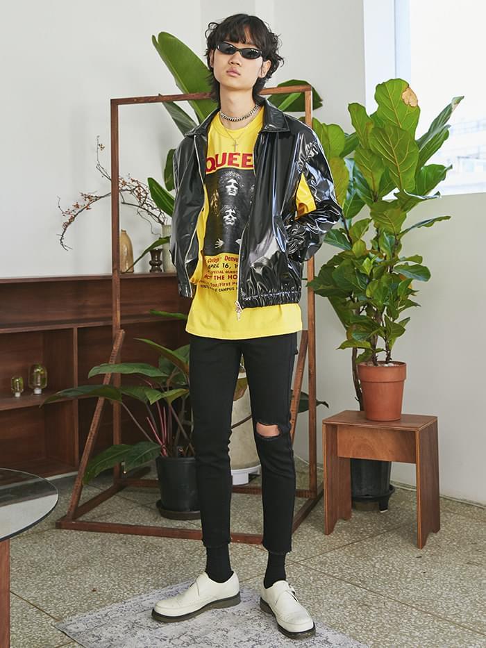 SALE pointed line enamel jacket (yellow) - UNISEX