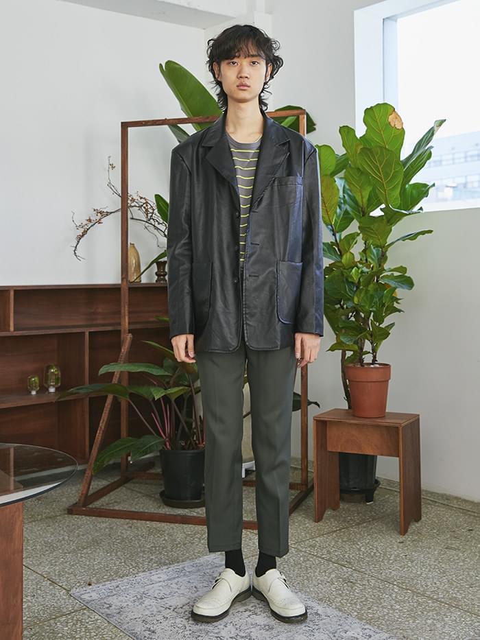leather pocket single jacket - UNISEX
