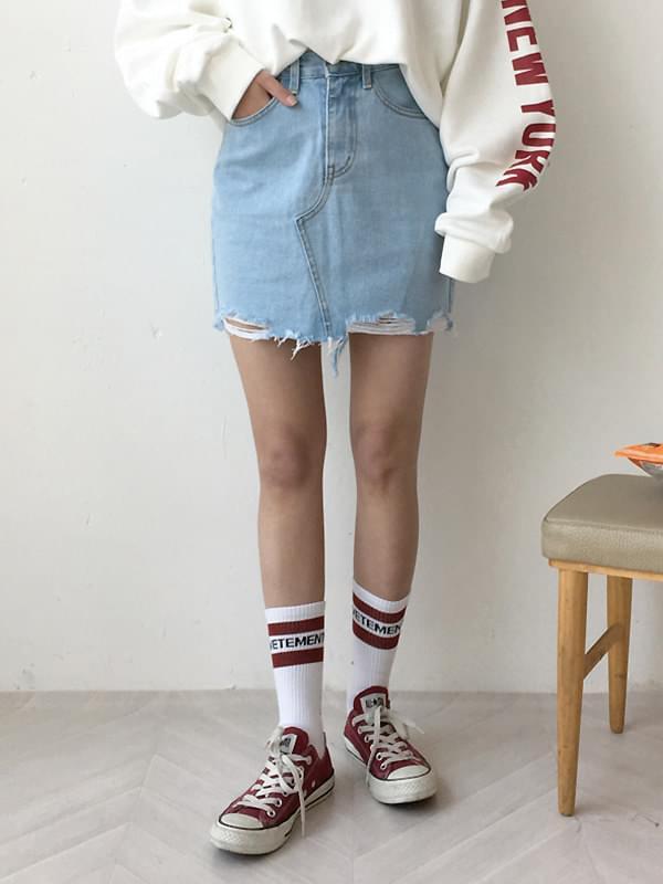 Spring blue denim skirt
