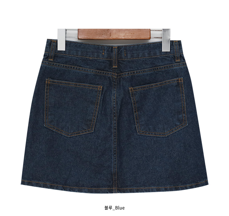Washing denim mini skirt_M