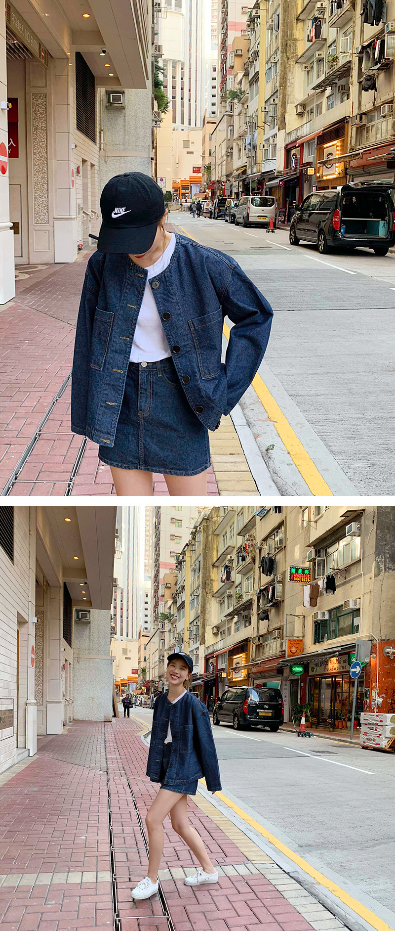 Button washing denim jacket_M