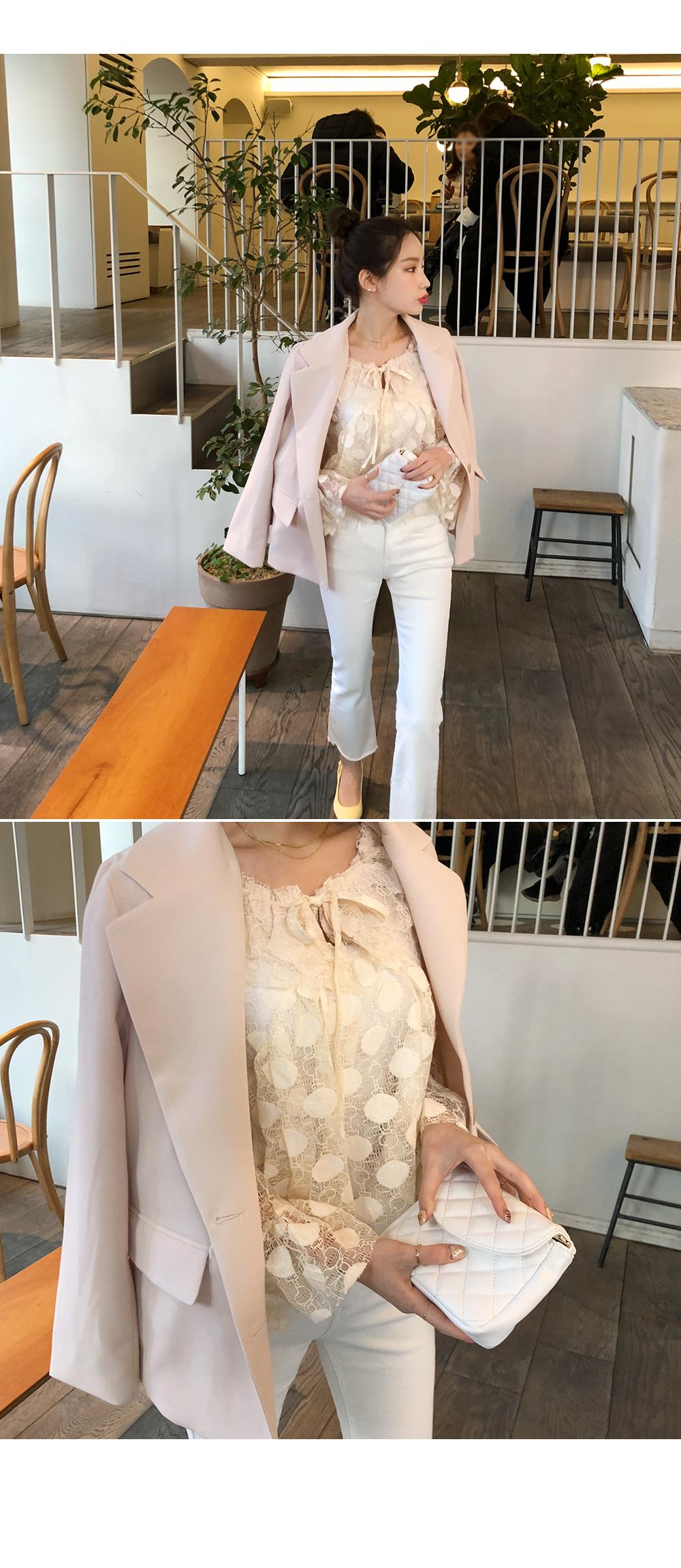 Butter dot blouse + slip SET