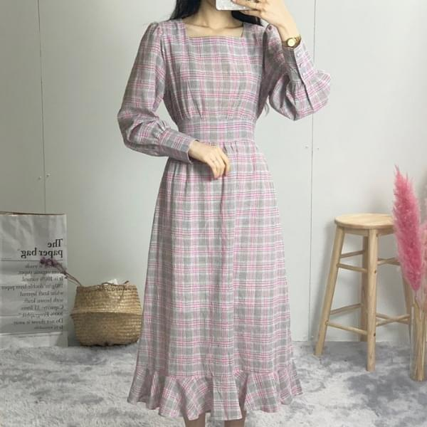 Check Square Long Dress