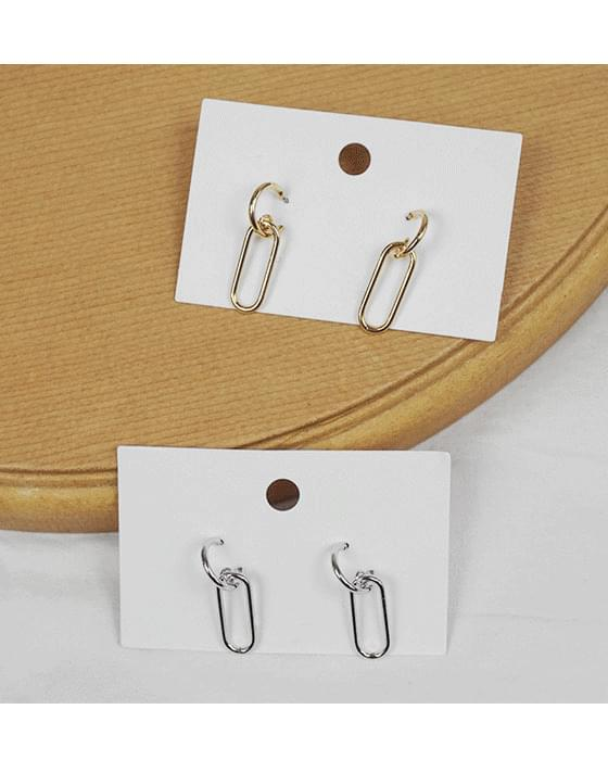 Clip ring drop earring-2color