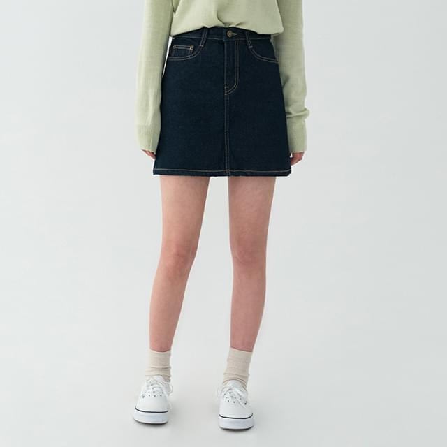 Semi-A Line Raw Paper Denim Mini Skirt-sk