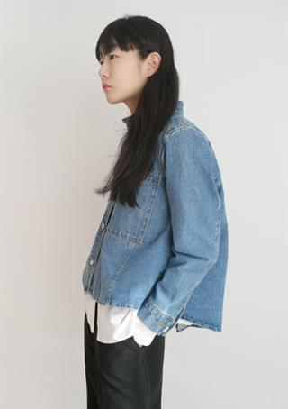 china collar clean denim jacket