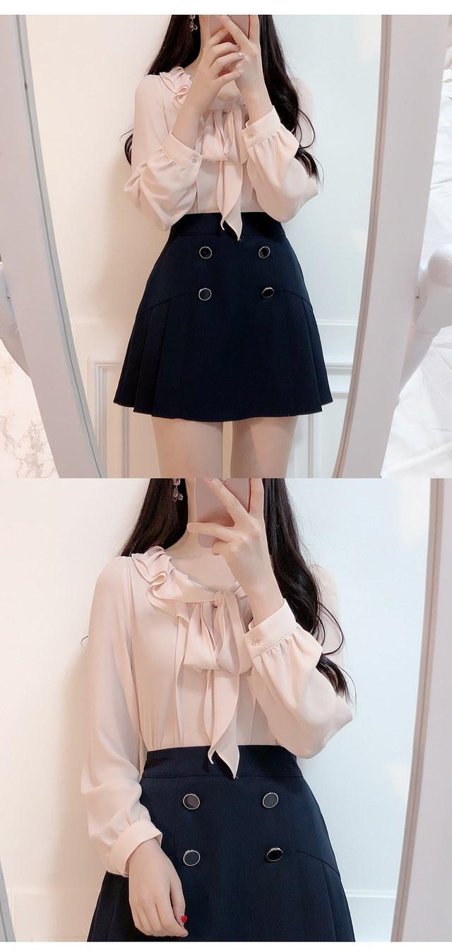 Double ruffle ribbon blouse