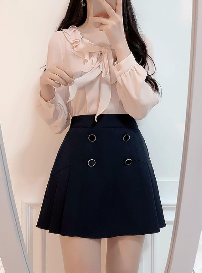 ♥ double frill ribbon blouse