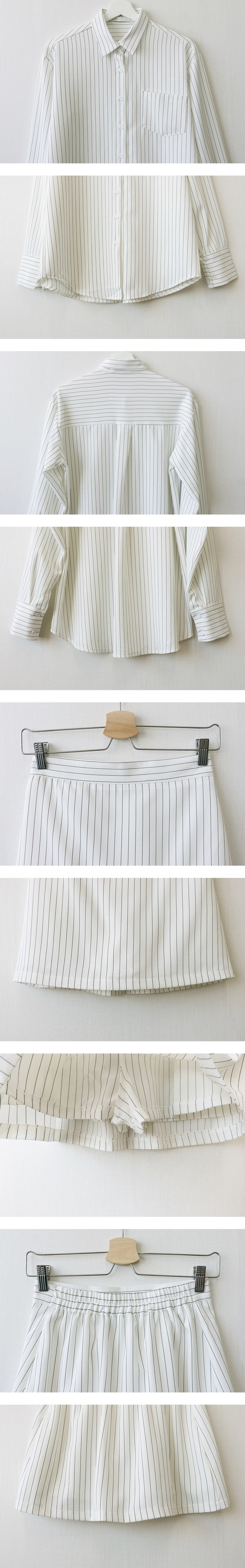 Stripe shirt + mini skirt pants set