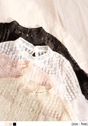AMELI LACE PUFF SEETHROUGH BLOUSE