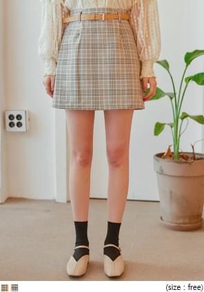 WANT CHECK BELT SET PANTS SKIRT