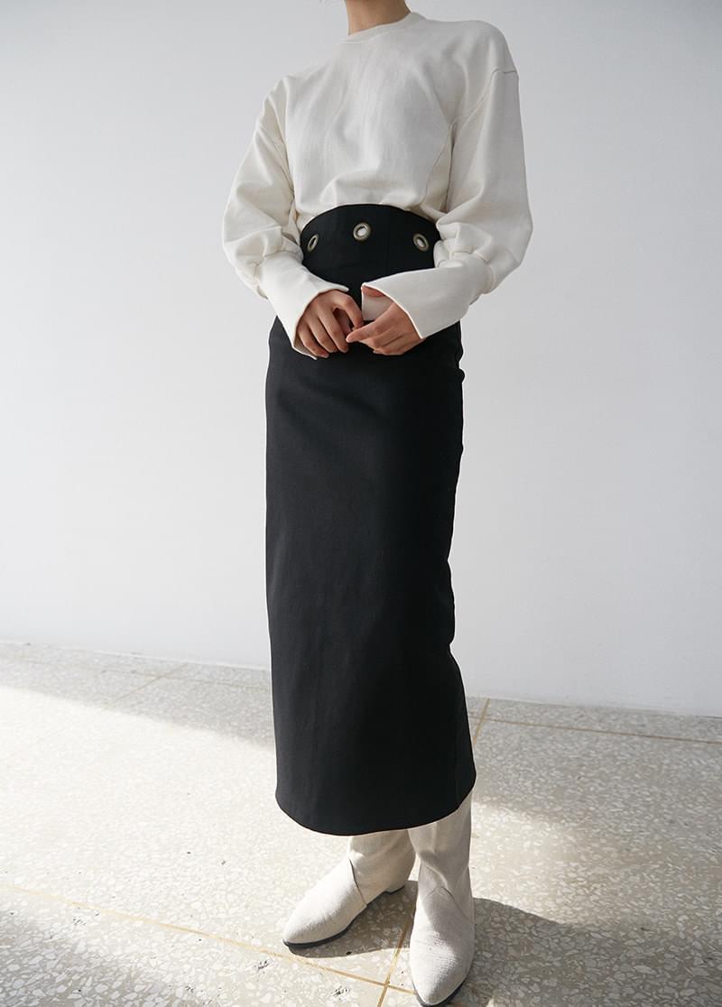 Eyelet midi skirt