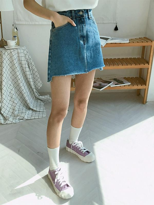 Mini Unbalanced Denim Skirt