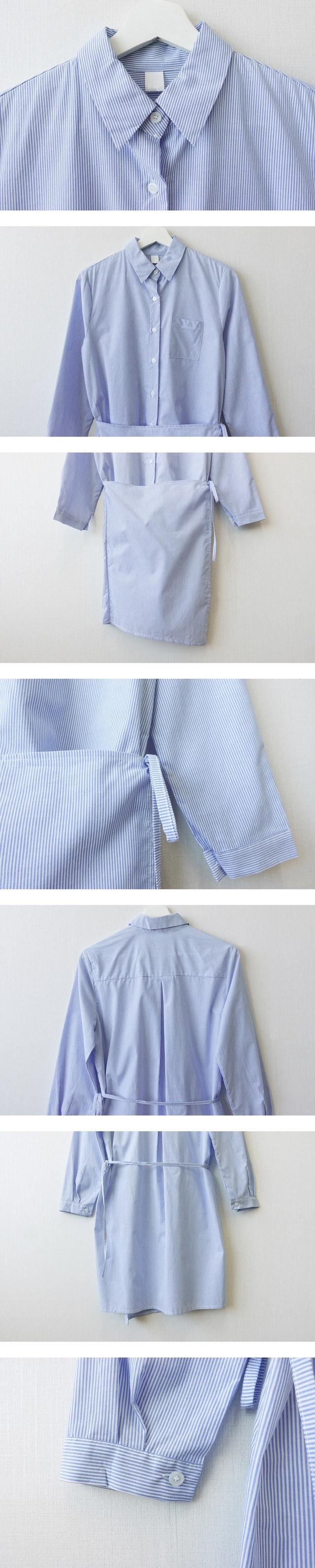 Striped shirt wrap mini dress