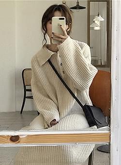 Button collar knit long dress