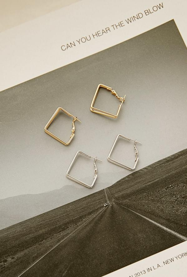 Circle square earring