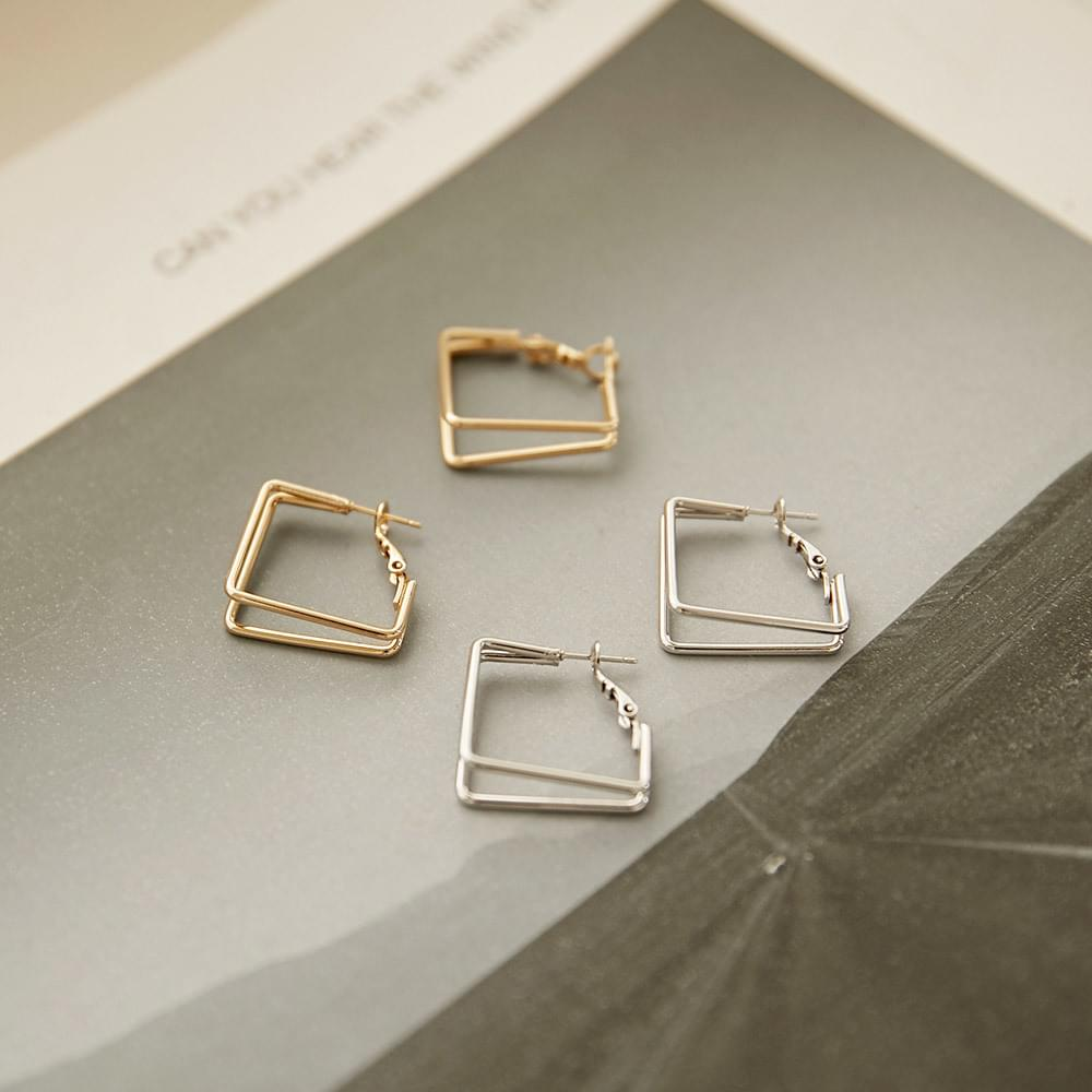 Circle square earring