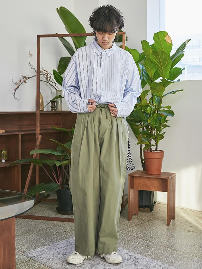 string cotton wide pants - UNISEX