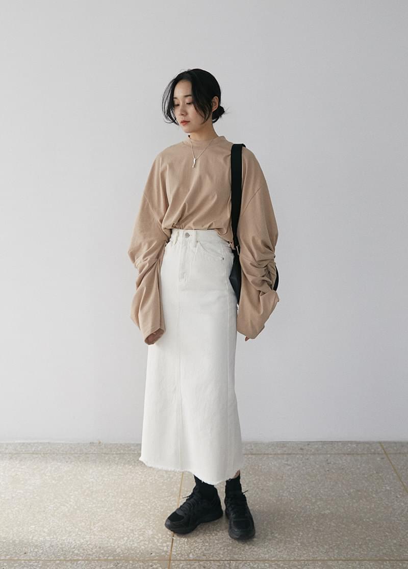 Cream long skirt