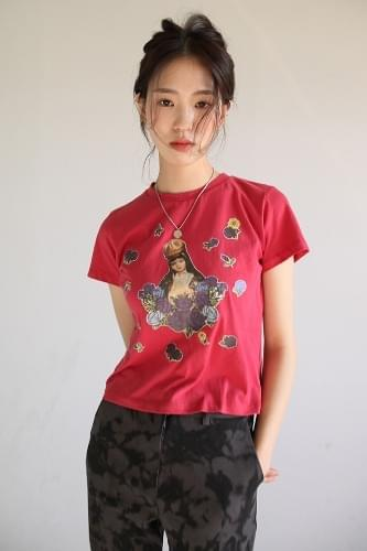 kitsch sticker half-sleeve tee (3colors)