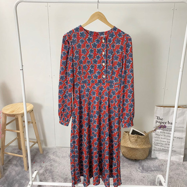 Button Wrap Collar Long Dress