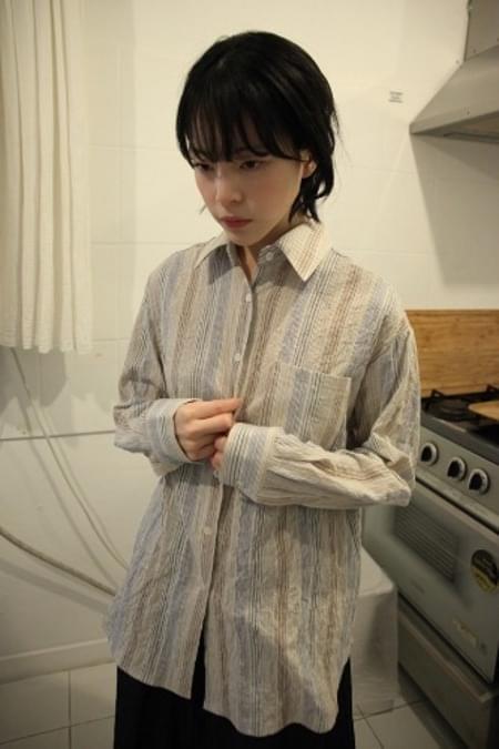 stripe crease shirt (2colors)