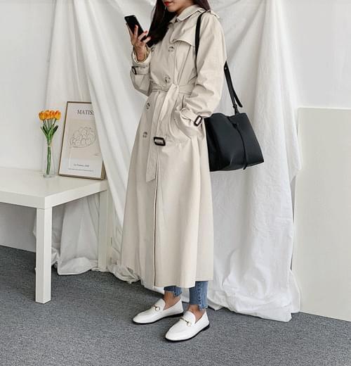Butter cream trench coat