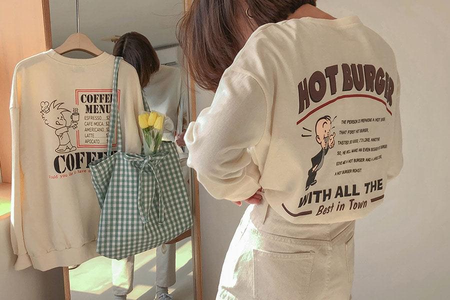 프린팅 버거 티셔츠