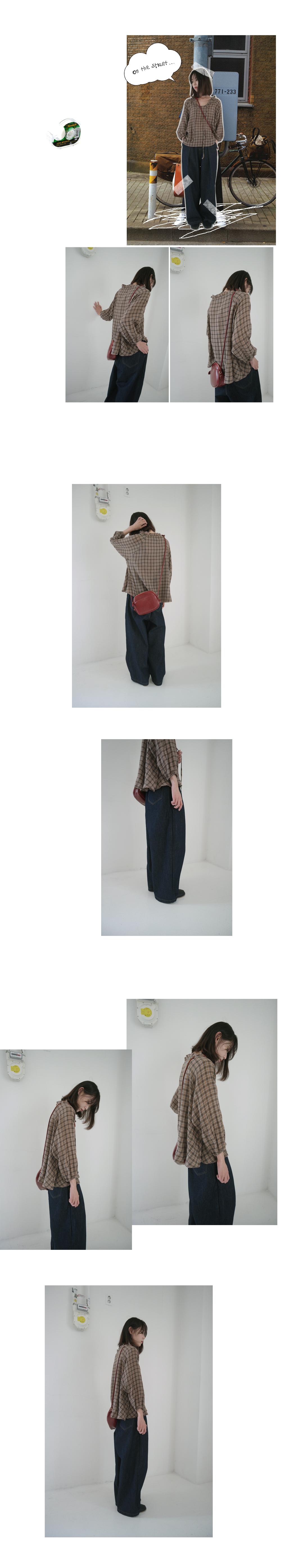 frill ribbon check blouse (2colors)