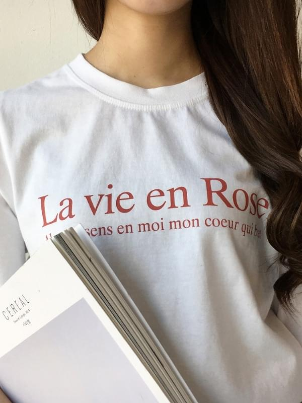 로즈 레터링 반팔 티셔츠 (t6039)