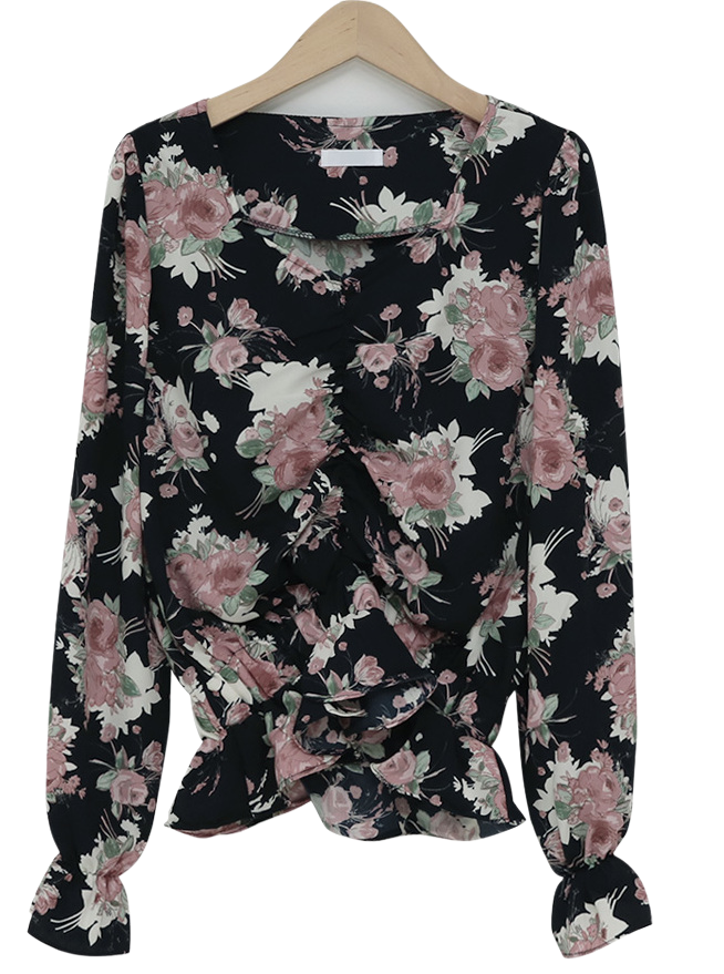 Shirring crop floral blouse_S