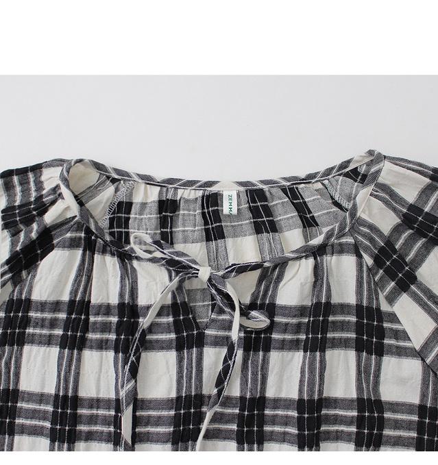 Self-made / Ribboning - Check blouse