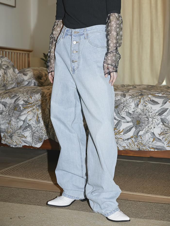 4-button wide denim pants - woman
