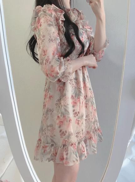 주문대폭주❤️피치 꽃 리본원피스(미니)