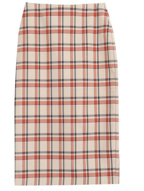 Rubber Check Midi Skirt